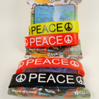 2 Pack Silicone Bracelets PEACE Theme 12-2pks per bag .54 per set