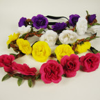 Braided Brown Suede Cord Headband w/ Mixed Color Flowers  .56 ea