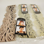 "2"" Wide Lace Style Fashion Headband w/ Elastic Back 3 colors .54 ea"