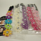 Mini Flower Lace Headband w/ Clear Stone Asst Color .54 ea