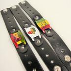 Mixed Style Rasta Theme Black Strap Bracelets .54 ea