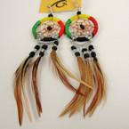 "3.5"" Rasta Color Dream Catcher Earring w/ Feathers .71 ea"