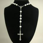 "36"" All White Beaded Rosary w/ Silver Cross w/ JESUS .56 ea"