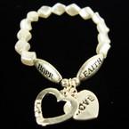 Pearl Bead Bracelet  Hope Faith w/ Silver Love Heart Charms .60 ea