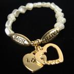Pearl Bead Bracelet  Hope Faith w/ Gold Love Heart Charms .60 ea