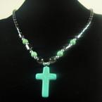 """16"""" Hematite Necklace w/ Turquoise Stone Cross Pendant .57 ea"""
