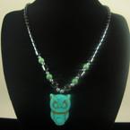 "16"" Hematite Necklace w/ Turquoise Stone Owl Pendant .57 ea"