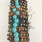 Teen Leather Bracelet w/ Wood Beads & Turquoise Stone Peace Sign .54 ea