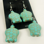 2 Pair Wear One Share One Turquoise Stone Turtle  Earrings .54 per set