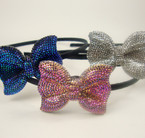 "Black Headband w/ 2"" Bling Style Bow Asst Colors  .54 ea"