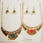 "Gold Chain Neck Set w/ 3.5"" Gold Hammered Look Pend. w/ Colored Stone .54 ea set"
