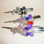 "Popular 5"" Silver Salon Clip w/ Colored Stones Butterfly Style .52 ea"