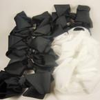 "6"" Black & White Fashion Bow on Gator Clip .54 ea"