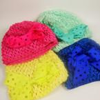 """Baby Crochet Cap w/ 4"""" Gro Grain Cut Out Bow Asst Colors .54 ea"""