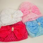 "Baby Crochet Cap w/ 4"" Flower Bow w/ Pearls Bow Asst Colors .54 ea"