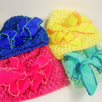 "Baby Crochet Cap w/ 4"" Gro Grain Bow w/ Colored Edge Asst Colors .54 ea"