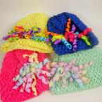 "Baby Crochet Cap w/ 4"" Curly Ribbon Bow Asst Colors .54 ea"