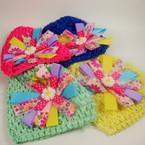 """Baby Crochet Cap w/ 4"""" Multi Color  Ribbon Bow Asst Colors .54 ea"""
