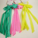 """8"""" Asst Color Long Ribbons w/ Ponytail Holder .54 ea"""