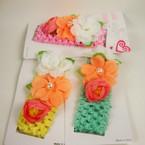 """Asst Color 1.5"""" Crochet Stretch Band w/ Triple Flowers .54 ea"""