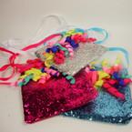 "4"" Sparkle Long Ribbon Strap Kid's Purse w/ Curly Ribbons  Asst Colors .54 ea"