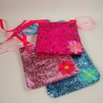 """4"""" Sparkle Long Ribbon Strap Kid's Purse w/ Flower Asst Colors .54 ea"""