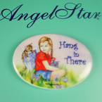 "2.75"" Ceramic Magnet w/ Girl & Cat Hang in There  .54 ea"