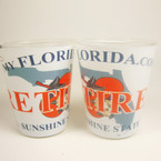 Florida Retired License Plate Style Shot Glass 12 per bx  .60 each
