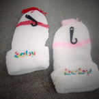 Baby Embroided Knit Cap White w/ Colored Trim .52 ea