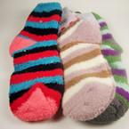 Stripped Pattern Fuzzie Style Winter Socks One Size .55 ea pr