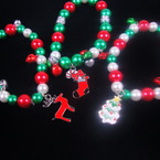 Pearl & Bell Christmas Stretch Bracelet w/ Charm 24 per bx NOW .52  ea