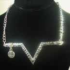 Fashionable Gold/Silver Chain Necklace w/ V Design & Love Charm .56 ea