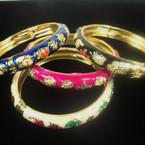 Cloisonne Look Epoxy Hinged Bangle Bracelet w/ Flowers Asst Colors .56 ea