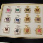 Gold & Silver Crystal Stone Perfume Bottle Fashion Ring .54 ea