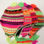 Multi Neon Color Knit Winter Cap w/ Fun Braids Only (6) $ 1.33 ea