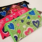 "4.5"" X 8"" Heart & Zebra Print Cosmetic Bag Pattern  ONLY .54 ea"