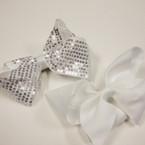 "5"" Gator Clip Bow 6 White & 6 White w/ Sequins Value Price .54 ea"