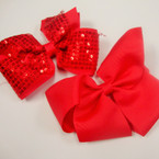 "5"" Gator Clip Bow 6 Red & 6 Red w/ Sequins Value Price .54 ea"