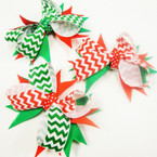 "4.5"" Christmas Gator Clip Bow w/ Chevron Print Value Price .54 ea"