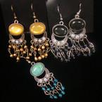 "2"" Fashionable Oval Bead earring w/ Dangle Mini Beads & Crystals .54 ea"