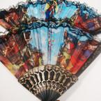 """9"""" Religious Theme Black Lace Fan .54 ea"""