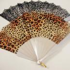 """9"""" Leopard Print Fashion Fan w/ White Frame .54 ea"""