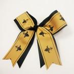 "6"" X 6""  Black & Gold Bow on Gator Clip w/ Fleur De Lis Print .56 ea"