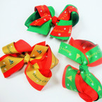 "4"" Gator Clip Bow Red & Green w/ Merry Christmas Ribbon .54 ea"