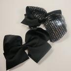 "5"" Gator Clip Bow 6 Black& 6 Black w/ Sequins Value Price .54 ea"
