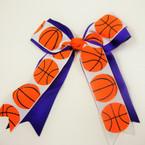"6"" X 6"" Basketball Print Cheerleader Bow on Gator Clip .56 ea"