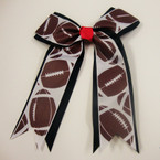 "6"" X 6"" Football Print Cheerleader Bow on Gator Clip .56 ea"