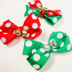 "3"" Red/Green Poka Dot Holiday Bow w/ Jingle Bells 24  per pack"