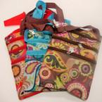 "6"" X 8.5"" 3 Zipper Multi Color Pasley Print Side Bag w/ Long Strap $1.04 ea"