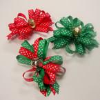 "4"" Christmas Color Ribbon Bow on Gator Clip w/ Jingle Bell .56 ea"